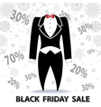 Black friday SaleTailcoat snowflakesnumbers vector image