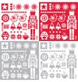 Christmas pattern with nutcracker - set of four de vector image