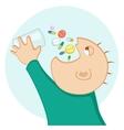 man eating pills vector image