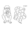 monkey snake vector image