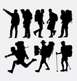 People hiking silhouettes vector image