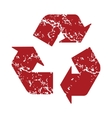 Red grunge recycling logo vector image