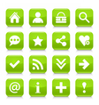 Green basic sign rounded square icon web button vector image