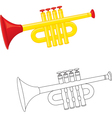 Cartoon trumpet vector image vector image