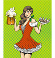 pop art of girl with beer and vector image