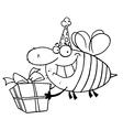 Birthday bee cartoon vector image vector image