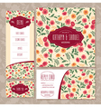 Set of floral wedding cards vector image vector image