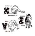 alphabet letter x y z depicting an hiphias yeti vector image