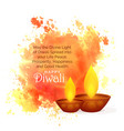 awesome diwali festival wishes with watercolor vector image