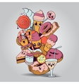 Big composition of bakery products characters vector image