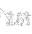 cartoon fisherman farmer lumberjack character set vector image