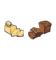 sketch butter bar with slices brown bread vector image