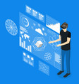 virtual reality man with futuristic technology vector image