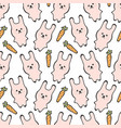 seamless pattern with cute pink rabbit or bunny vector image