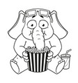 watching movie in 3d glasses eating popcorn vector image