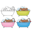 bear bath vector image vector image