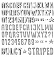 Striped and bulging fonts vector image