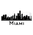 Miami City skyline black and white silhouette vector image