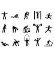 black fitness people icons set vector image