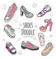 boots colorful doodle collection vector image