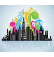 colorful panorama city vector image