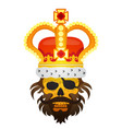 hairy pirate skull in the royal crown tattoo gold vector image