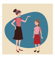 mother and daugther lovely vintage background vector image