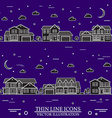 Neighborhood with homes white and purple vector image