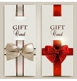 Gorgeous gift cards with bows and copy space vector image vector image