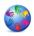 Hands painted on world logo vector image