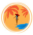 round retro poster with palm trees sea girl and vector image vector image