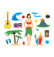 cartoon symbol of hawaii color icons set vector image