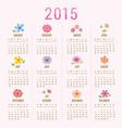 calendar 2015 flower cute cartoon vector image