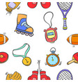 collection sport equipment object pattern style vector image