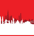 red cityscape background vector image