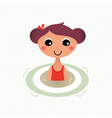 Swimming summer girl retro cartoon vector image vector image