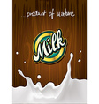 milk label on wooden background with milk splash vector image
