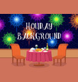 open-air restaurant with fireworks vector image