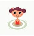 Swimming summer girl retro cartoon vector image