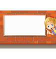 A smiling girl and a white board vector image vector image