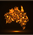 abstract map of australia with glowing particles vector image
