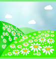 summer landscape with green grass sun and clear vector image