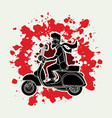 a man ridin classic scooter graphic vector image