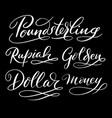 dollar money hand written typography vector image