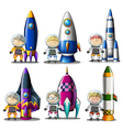 Explorers beside the rockets vector image vector image