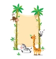 Banner on two palm tree with small funny animals vector image