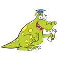 Cartoon dinosaur holding a diploma vector image