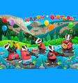 happy birthday card with funny badgers playing vector image
