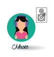 Music design girl icon White background vector image