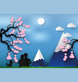 paper art style of cherry blossom on blue vector image